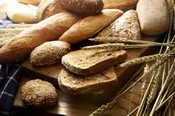 Picture of bread, wheat stalks, and muffins